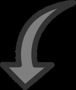 arrow, down, rotate